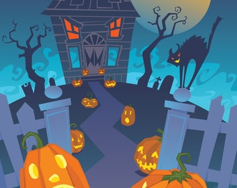 Monster House Photography Backdrop - Halloween (HDY-TS-011)