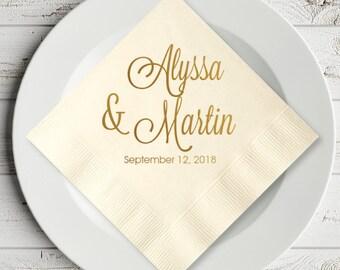 100 pcs Elegant Script Personalized Wedding Napkins - Luncheon Napkins