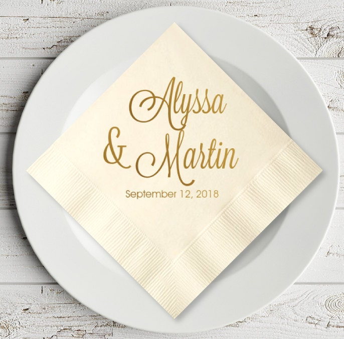 Description Elegant Script Personalized Napkin