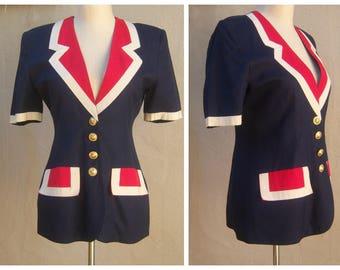 Vintage French designer patriotic blazer, red white blue, gold buttons / Evelyne Mandel, Paris / womens fitted dress jacket, FR 38 US 4-6