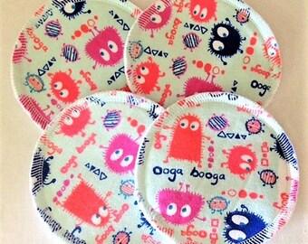 2 Pairs of Cloth Nursing Pads - Gumdrop Ooga Booga Monsters