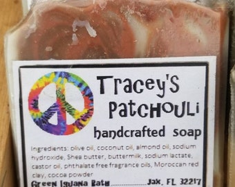Tracey's Patchouli handcrafted buttermilk shea butter soap with red clay and cocoa powder