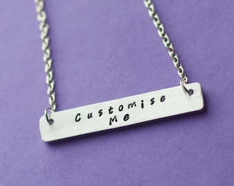 customised necklace, customised necklace, custom necklace, personalized jewelry, bar necklace, custom bar necklace, gift for her