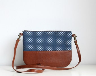 Small crossbody handbag ,Navy, Clutch Purse, Polka dots, Blue, Brown