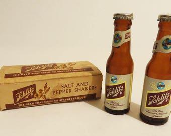Vintage Schlitz Beer Salt and Pepper Shakers