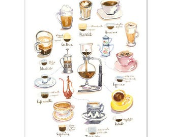 Watercolor coffee painting, Kitchen wall art, Espresso illustration poster, Goffee gift, Dining room decor, 8X10 print, Brown wall decor
