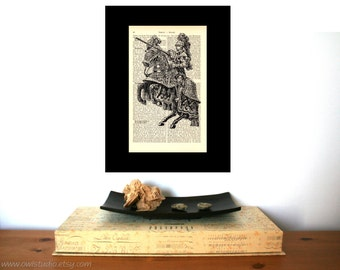 Wall decor | Medieval Knight Art Print | Farmhouse decor | Home Decor | Shabby Chic | Book Art | Housewarming Gift | Rustic Home Decor