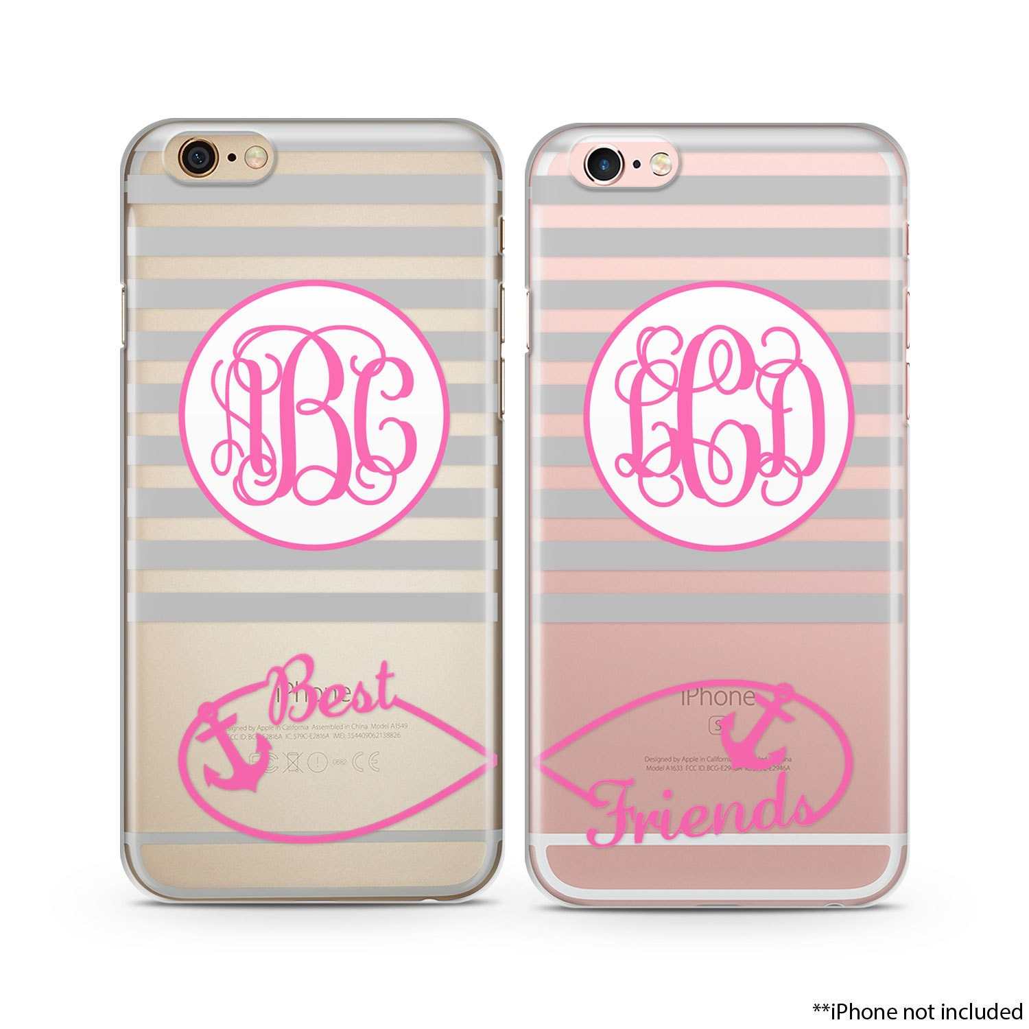 Best friends iphone case set gray stripes pink anchor infinity zoom biocorpaavc Choice Image