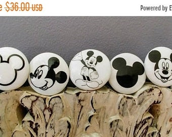 SALE15 Dresser drawer knobs Mickey Mouse inspired  wooden Knobs hand decorated (sublimated images) 1 1/2 inches set of 6 Mickey Mouse silloh