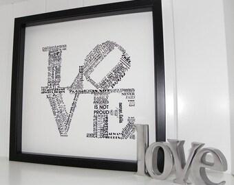 Love Never Fails FRAMED ART Print- 1 Corinthians 13 Wedding Anniversary Engagement Gift