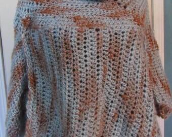 Asymmetrical Crochet Boho Sky Blue-Red Earth Poncho - Cowl Neck *Free Shipping*