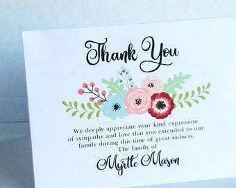 Floral Spray 1 Sympathy Thank You Cards - personalized custom cards for Funeral Thank You's grief and bereavement note cards