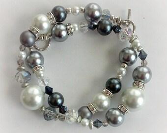 Betrothed - Beaded Bracelet Set of 2 ~ Wedding Bridal Bracelet ~ Bridesmaid ~ Mother of Bride Groom Jewelry
