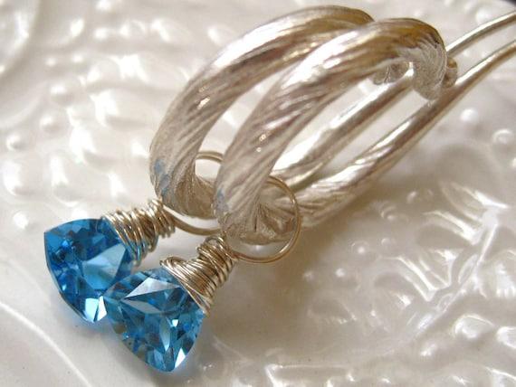 Blue Topaz Hoop Earrings