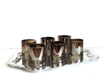 Vintage Barware Set of 6 Mid Century Modern Silver Ombre Glasses