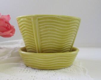 McCoy Yellow Planter Flower Pot Mid Century Modern