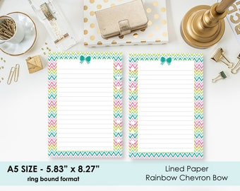 A5 Lined Rainbow Chevron Bow planner printed insert - line paper - lines - lined planner page - true A5 - ring bound planner refill