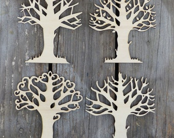 Set of 4 Trees Craft Shapes 3mm Plywood Spring Summer Autumn Winter