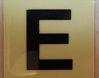 """Photoluminescent Door Identification Number E Sign Heavy Duty / Glow In The Dark """"Door Number"""" Sign Heavy Duty (Aluminum Sign 1.5 X 1.5)"""