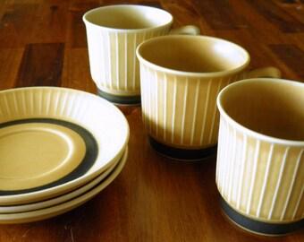 """Set of Mid Century Stavangerflint (Norway) """"Norrøna"""" Cups & Saucers--3 + 3--Inger Waage Design--Excellent Condition"""