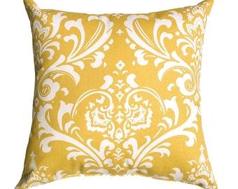 Premier Prints Ozborne Corn Yellow Floral Damask Style Print Home Decor Decorative Throw Pillow Cover