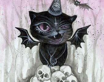 Derpy Vampurrr Bat - vampire cat, black cat, vampire cat, halloween, cute spooky, mini art print, small art, gift ideas, phresha
