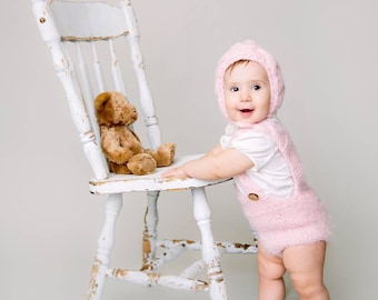 Knitted wool romper and bonnet set