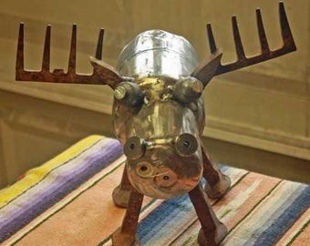 Moose metal sculpture from found objects primitive folk art Garden Art