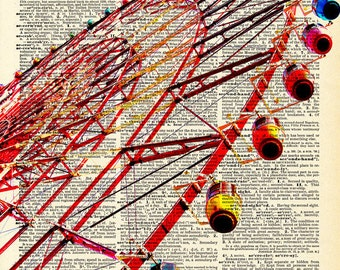 Vintage Book Art Print - Ferris Wheel - Upcycled Antique Book Print - Vintage Carnival Circus Art