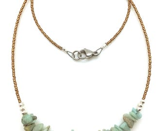 Amazonite Necklace with Thai Silver beads & bronze seed beads