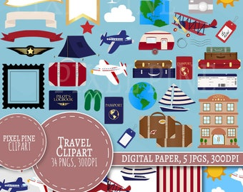 Travel Clipart Set, 35 PNGs, 5 Travel the world Digital Paper JPGs, Commercial Use, Aeroplane clip art, suitcase clipart, travel clipart set