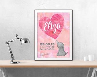 Nursery | Baby's Room | Baby's Birth | Birth Announcement | Wall Art | Nursery Art | Baby | Baby Announcement | Poster | Custom