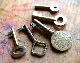Tiny Brass Antique Key Set / Instant Collection