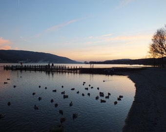 Photograph: December twilight over jetties on Coniston in English Lake District, blank greetings card POD white C5 env