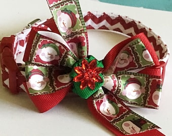 Red & White Chevron Christmas Collar with Ribbon Bow for Dogs and Cats