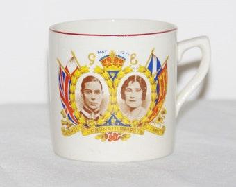 1937 Coronation mug George VI and Queen Elizabeth Royal  antique commemorative souvenir