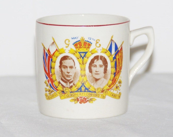 Featured listing image: 1937 Coronation mug George VI and Queen Elizabeth Royal  antique commemorative souvenir