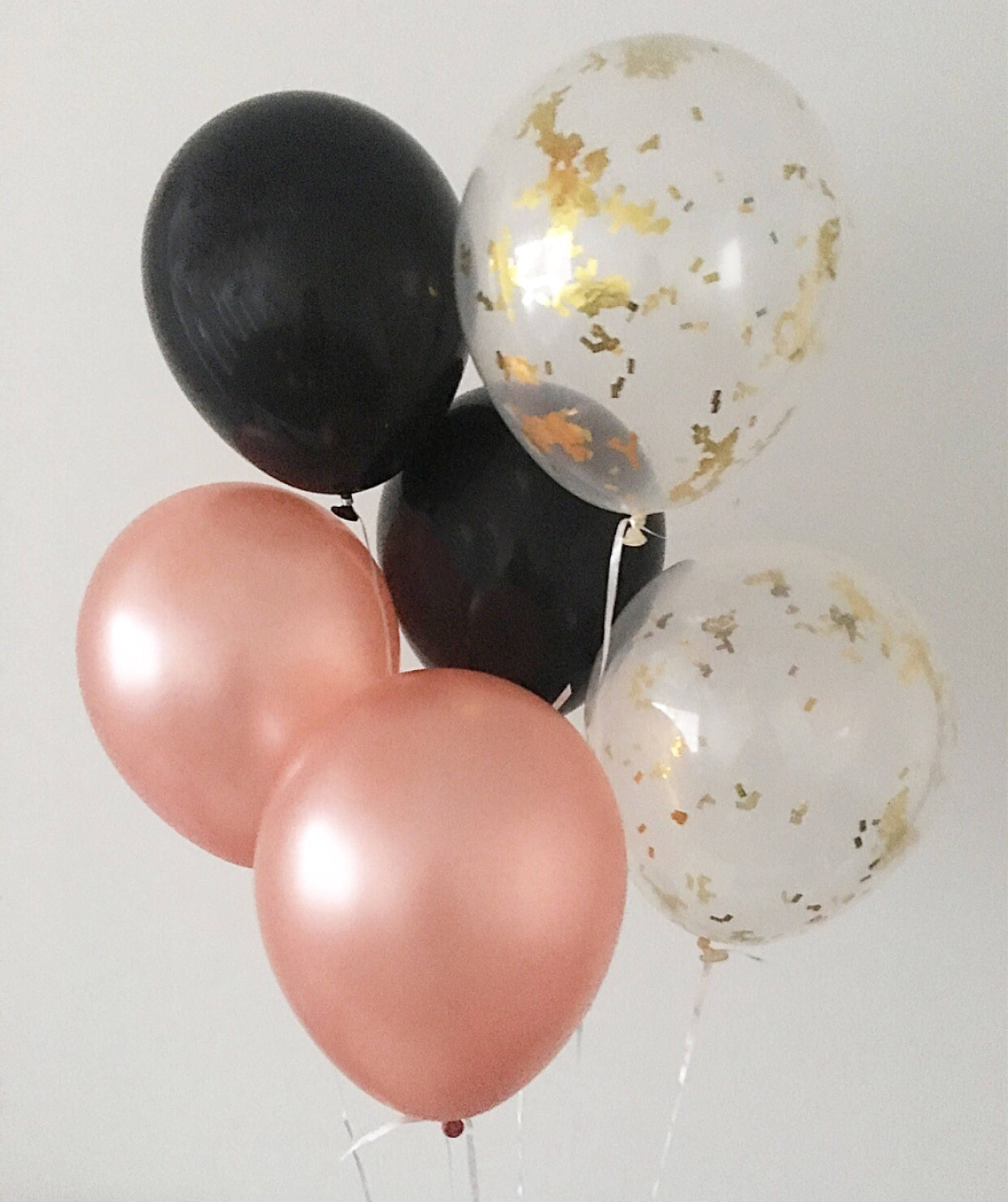 Rose Gold Black Confetti Latex Balloons And