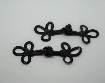 Set of 2 ties in black braid - ref A9 Brandenburg