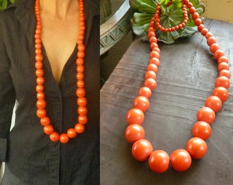 Long Orange Wood Necklace. Ethnic Jewelry. Handmade Jewelry. Boho Jewelry