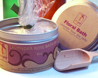 Lavender and Rose Petals  Bath Salts , Aromatherapy Bath Salts with Essential oil, Gift Bath Salts,