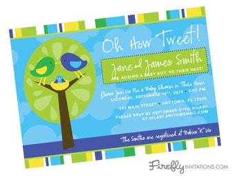 Bird Baby Shower Invitation for Boy, Girl or Neutral: Oh How Tweet