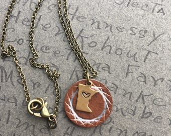 State charm necklace, Minnesota necklace, MN jewelry, MN necklace, charm jewelry