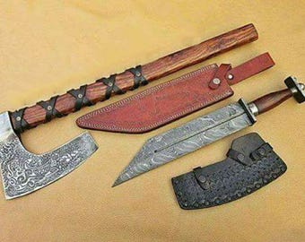 Axe and Seax Set: Damascus steel