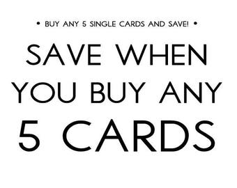 Set of Cards, Mix and Match any 5 Cards and Save, Stationery Multi-buy, Greeting Card Bundle, Variety of Funny Cards, Pack of Greeting Cards