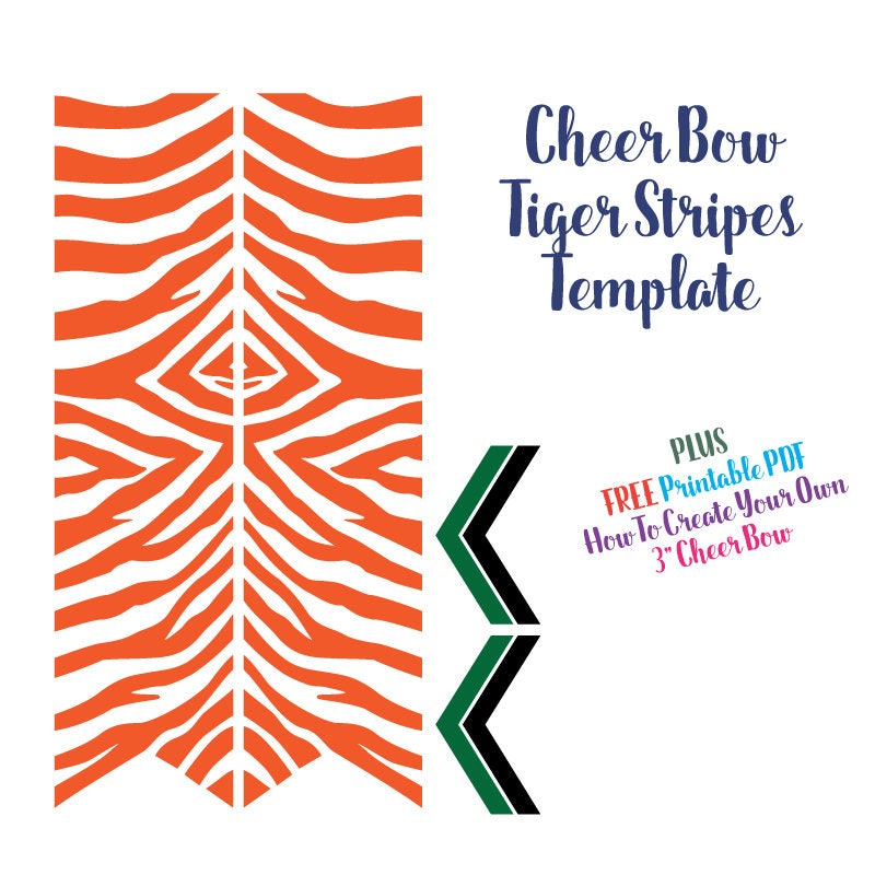Cheer Bow Template - Tiger Stripes for Vinyl Heat Transfer 3\