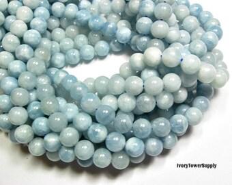 1 Strand 8mm Aquamarine Beads, Natural Stone Beads, Blue Beads, Semi Precious Beads, Gemstone Beads, Round beads