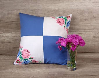 Blue embroidery patchwork pillow cover, pink roses needlework throw 16 x 16 inch (40 x 40 ) ~ romantic shabby chic decor, housewarming gift