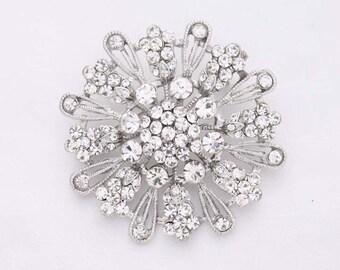 Crystal Rhinestone Brooch, Silver Wedding Brooches, Bridal Brooch, Dress Sash Brooch, Cake Brooch, Bouquet Brooches Wedding Crafts