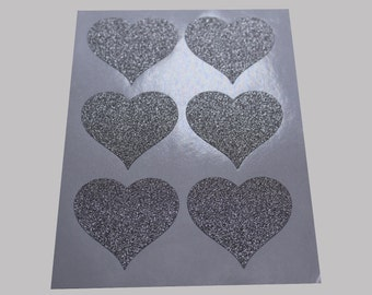 "36pcs - 1.5"" Glitter Silver Sharp Heart Stickers -Envelope Seal"